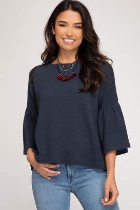 She + Sky Bell Sleeve Sweater
