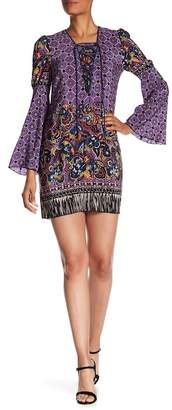 Anna Sui Paisley Lace-Up Front Silk Blend Dress