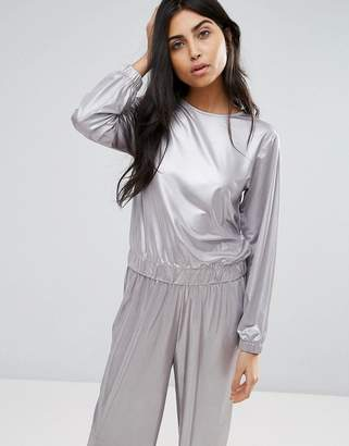 Asos Sweatshirt In Liquid Metallic Co-Ord