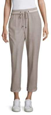 Peserico Women's Striped Drawstring Jogger Pants - Taupe - Size 46 (10)