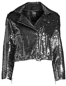 Nour Hammour Nour Hammour Women's Sparkles Leather Moto Jacket