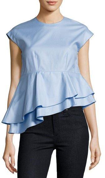 CarvenCarven Asymmetric Peplum Babydoll Top, Blue