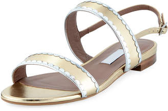 Tabitha Simmons Flat Two-Band Metallic Leather Sandal