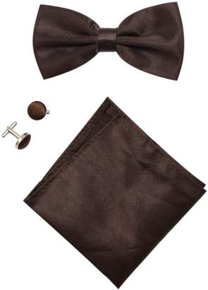 Mens Solid Stain Pre-tied Tuxedo Bow Tie Cufflinks Pocket Square Set By JAIFEI