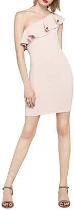 BCBGeneration Women's One-Shoulder Ruffle Jacquard Dress