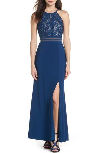 Strappy Lace Bodice Gown