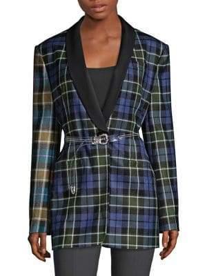 Tibi Oversize Tartan Tuxedo Jacket
