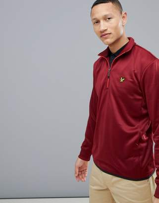 Lyle & Scott Golf wick 1/4 zip mid layer fleece backed tricot sweater in burgundy