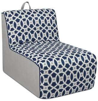 Co Kangaroo Trading Tween Lounger w/handle - Loopy Navy with Pebbles and Navy welt trim