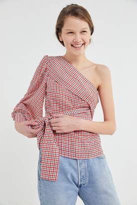 858da859df153a at Urban Outfitters · C/Meo Collective Counting All One-Shoulder Wrap Top