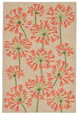 August Grove Dazey Lily Hand-Tufted Beige/Red Indoor/Outdoor Area Rug August Grove