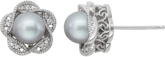 Vera Wang Simply Vera Dyed Freshwater Cultured Pearl & Diamond Accent Sterling Silver Flower Stud Earrings