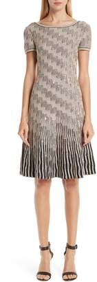 St. John Inlaid Sequin Trellis Fit & Flare Dress