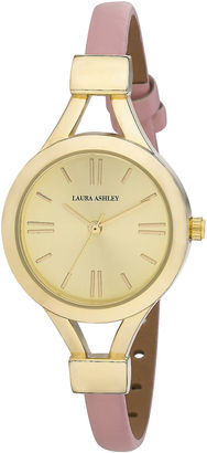 Laura Ashley Womens Pink Thin Strap Gold Case Watch La31011Yg $295 thestylecure.com