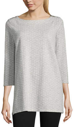 Liz Claiborne 3/4 Sleeve Shoulder Zip Tunic Top