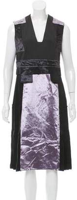 Calvin Klein Collection Velvet-Paneled Silk Dress