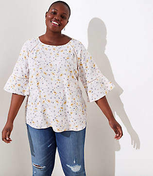 41d9919956012 LOFT Plus Floral Perforated Lacy Mixed Media Top