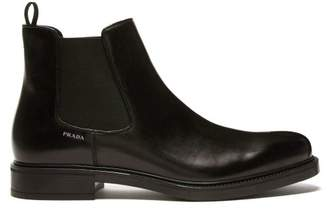 Prada Logo Print Leather Chelsea Boots - Mens - Black