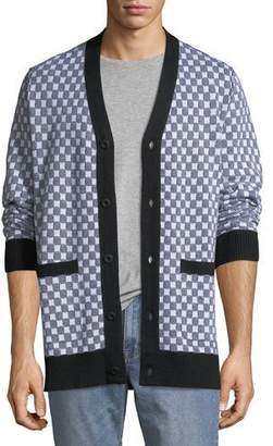 Ovadia & Sons Men's Checkerboard Pocket Cardigan