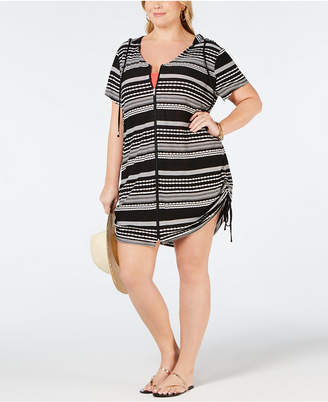 Dotti Plus Size Ibiza Striped Hoodie Cover-Up Women Swimsuit