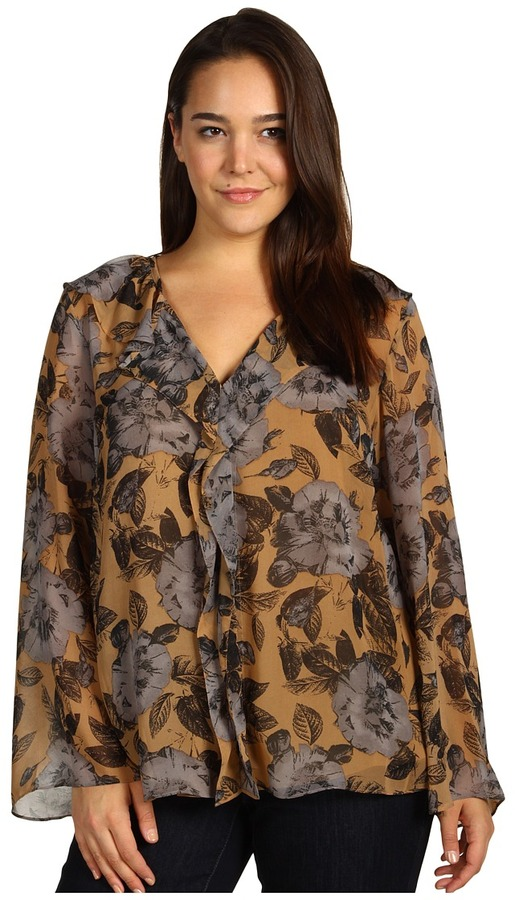 Klein Plus Anne Plus Size Floral Print Bell Sleeve Blouse (Cappuccino Multi) - Apparel
