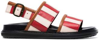 Marni Red and white striped leather sandals
