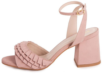 Bronx Pink Suede Heeled Sandals $274 thestylecure.com