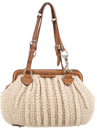 Miu MiuMiu Miu Crochet Knit Shoulder Bag