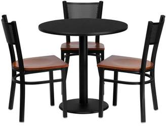 Flash Furniture 30'' Round Black Laminate Table Set with 3 Grid Back Metal Chairs, Cherry Wood Seat