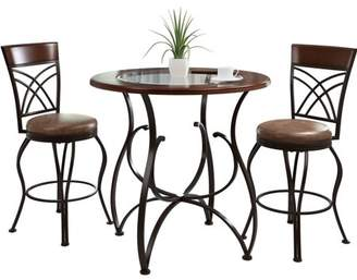 CorLiving Jericho 3-Piece Counter Height Rustic Brown Barstool and Bistro Table Set