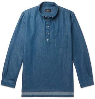 A.P.C. Aldric Button-Down Collar Cotton-Blend Denim Shirt - Men - Indigo