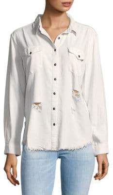 MinkPink Breeze Fray Hem Denim Button-Down Shirt