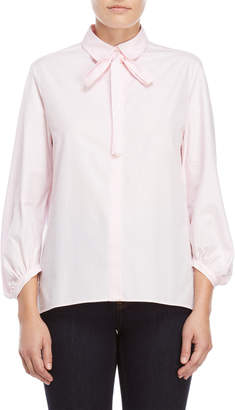Maje Pink Tie-Neck Puff Sleeve Shirt