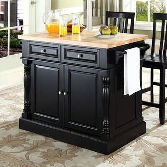 Co Darby Home Lewistown Kitchen Island Set with Butcher Block Top