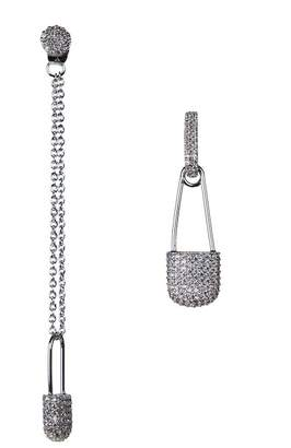 Kenneth Jay Lane CZ By CZ Pave Mismatched Safety Pin Drop Earrings