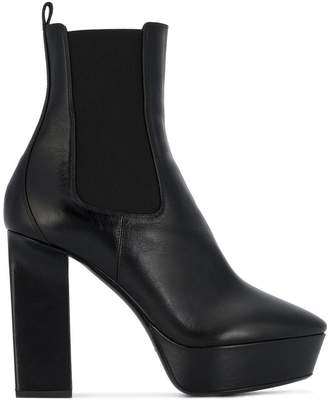 Saint Laurent Black Vika 125 Leather platform boots
