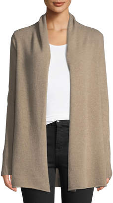 Neiman Marcus Cashmere Open-Front Computer Cardigan, Tan