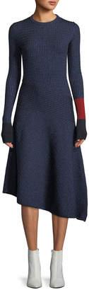 Cédric Charlier Crewneck Long-Sleeve Fitted Ribbed Asymmetric Midi Dress