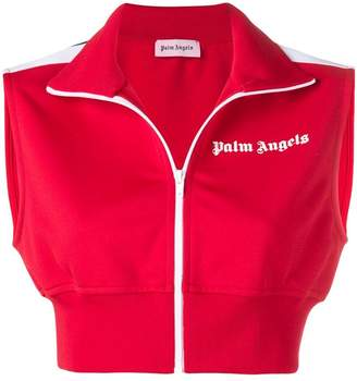 Palm Angels cropped zipped gilet