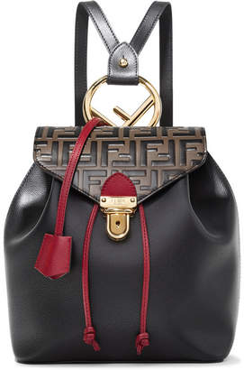 Fendi Embossed And Textured-leather Backpack - Black