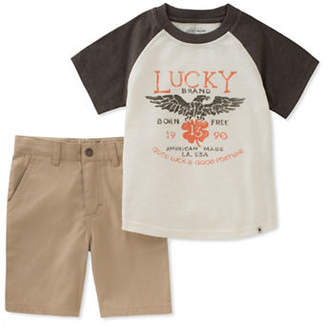 Lucky Brand Two-Piece Raglan Graphic Tee and Shorts Set