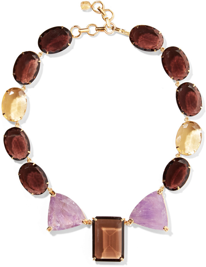 BounkitBounkit Gold-tone, crystal and stone necklace