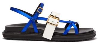 Marni Fussbett Satin And Patent Leather Sandals - Womens - Blue White