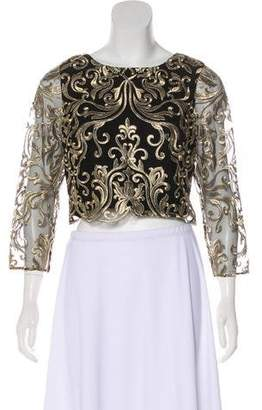 Marchesa Long Sleeve Crop Top w/ Tags