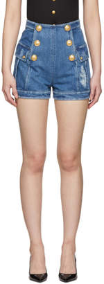 Balmain Blue Denim Six-Button Shorts