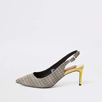 River Island Grey check wide fit slingback court shoes