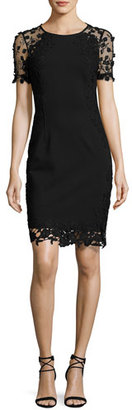 Elie Tahari Yadira Crochet-Trim Sheath Dress, Black $498 thestylecure.com