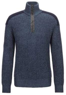 BOSS Hugo Knitted zipper-neck sweater contrast shoulder patch M Dark Blue