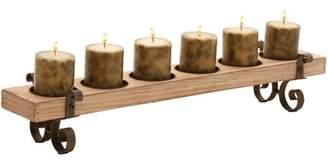 DecMode Decmode Wood and Metal Candleholder, Brown