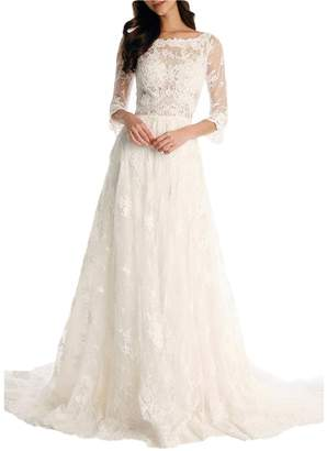 YSMei Women's Vinatge Beach Wedding Dress Long Sleeve Lace Boat Neck Bride Evening Gown 0